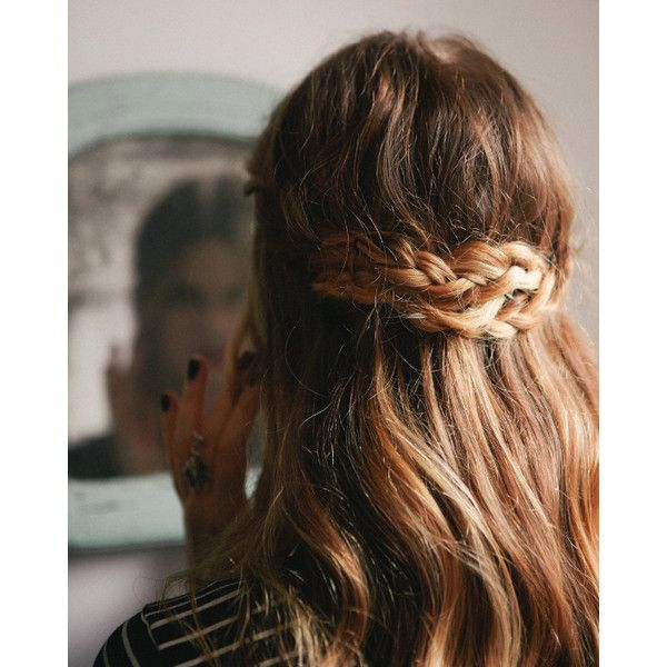 Half-Up Braided Crown ❤ liked on Polyvore featuring beauty products, haircare, hair styling tools, hair, hairstyles, hair styles, backgrounds and beauty