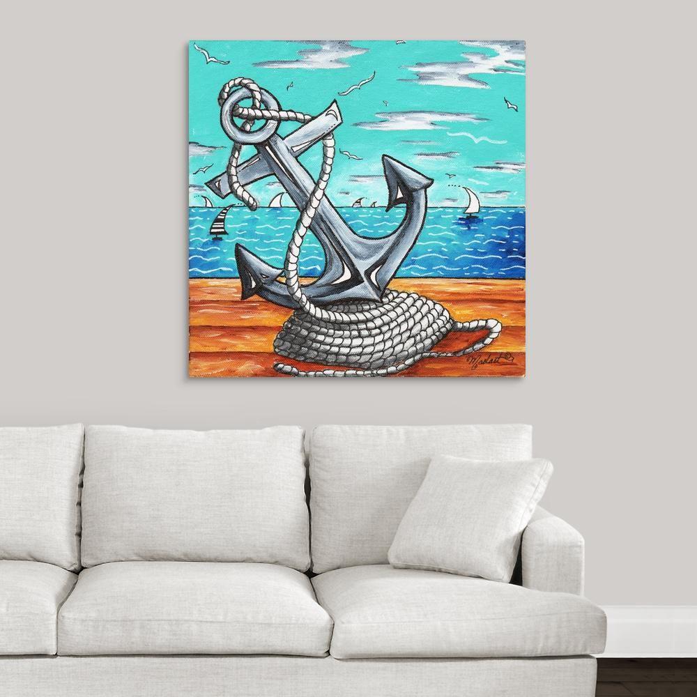 Greatbigcanvas Anchors Away Contemporary Nautical Anchor Art By Megan Duncanson Canvas Wall Art 1161935 24 36x36 Anchor Art Canvas Wall Art Nautical Art