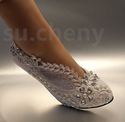 Great 2u201d Low Heel Lace White Light Ivory Crystal Wedding Shoes Bridal Pump Size 5