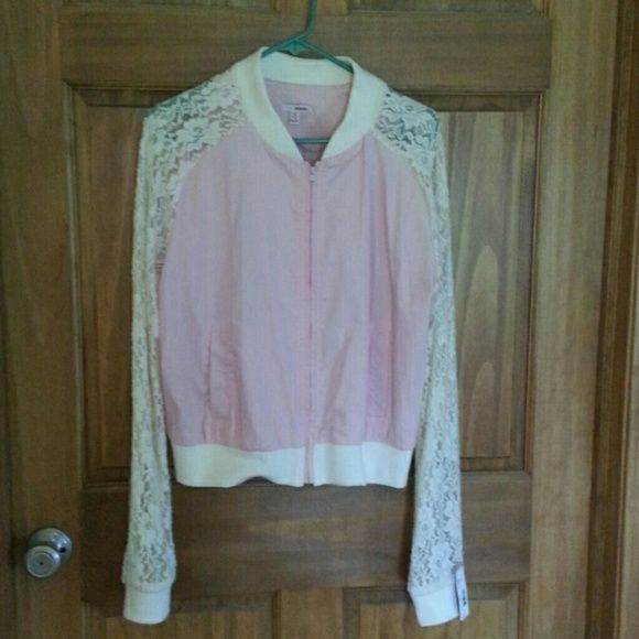 Missy Zipper Jacket with Lace arms Light pink, lace arms, really cute BONGO Jackets & Coats