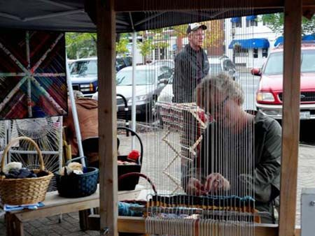 Susan Barrett Merrill Weaving On Her Garden Loom