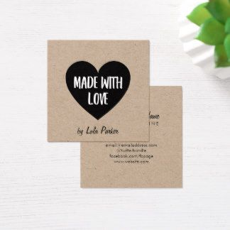 Heart kraft paper made with love square business card heart kraft paper made with love square business card reheart Image collections
