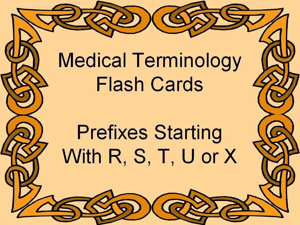 Prefixes Medical Terminology Flash Cards