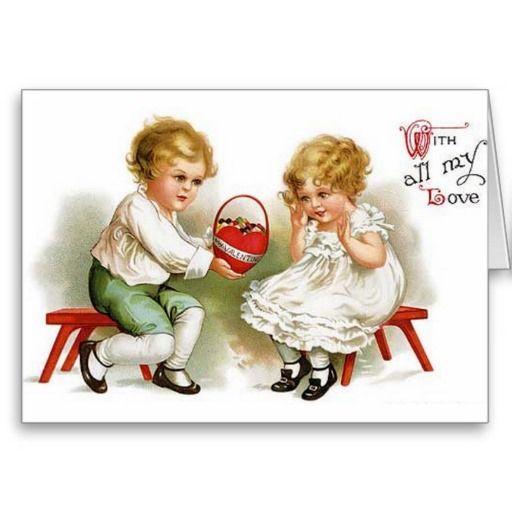 Victorian Valentine Greeting cards   victorian valentine s day greeting card adorable victorian little boy ...