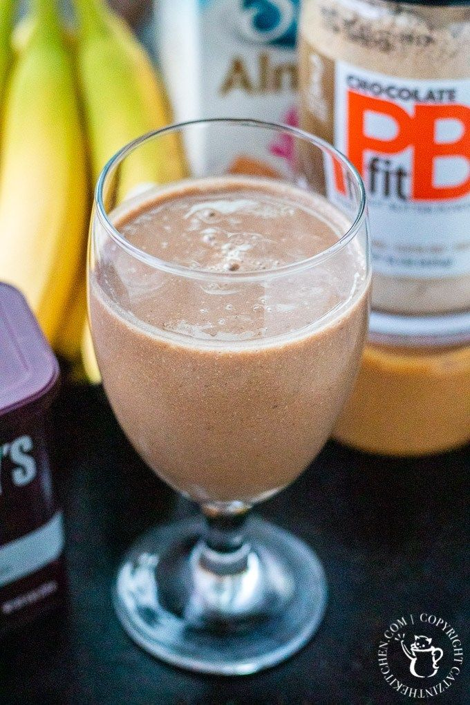 Healthy Chocolate Peanut Butter Shake - Catz in the Kitchen