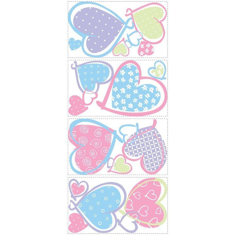 York Wallcoverings RMK1434SCS RoomMates Hearts Peel & Stick Wall Decals Multi Home Decor Wallpaper Wall Decals