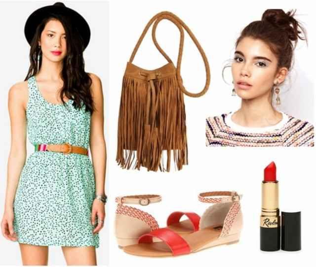 Mint dress, red sandals, fringe bag, red lip, bun