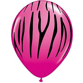 Hot Pink Zebra Stripe Latex Balloons