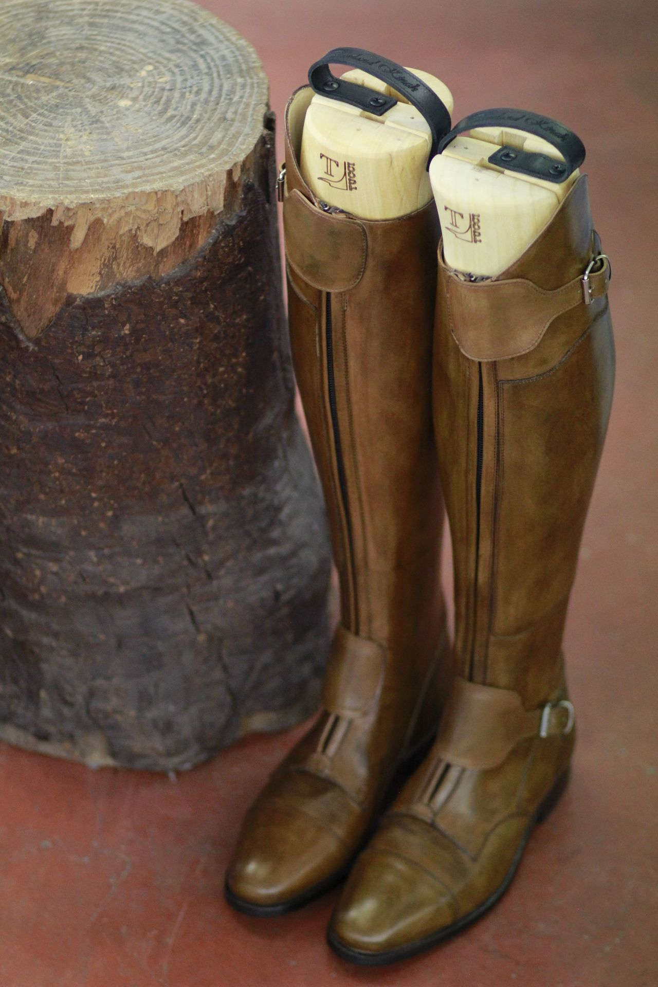 d02ae757e42c Polo riding boots by Franco Tucci with hand-rubbed vintage leather effect.  Italian design made in Italy. Made to measure custom boots with monogrammed  wood ...