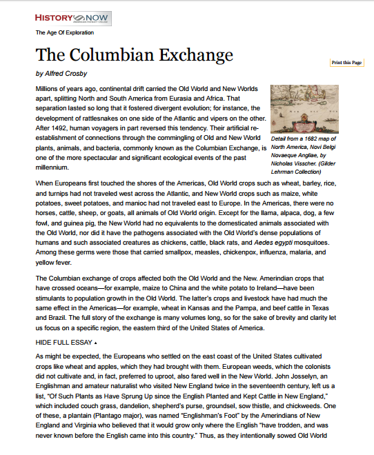 Colombian Exchange Article #1