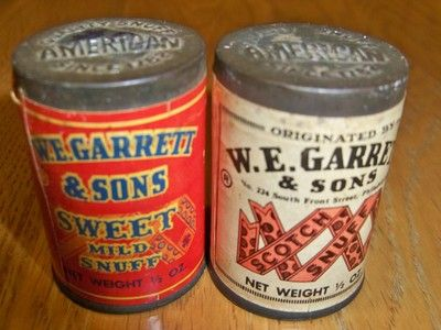 Vintage Antique 2 W.E Garrett & Sons Snuff Tin Cans Sealed Scotch & Sweet Mild