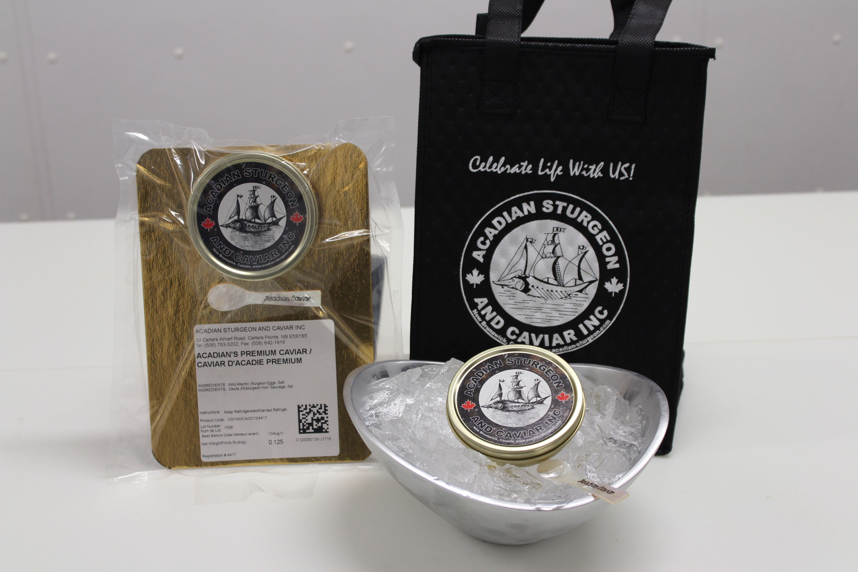 Acadian's premium caviar 125 g with mother of pearl spoon and gift bag!