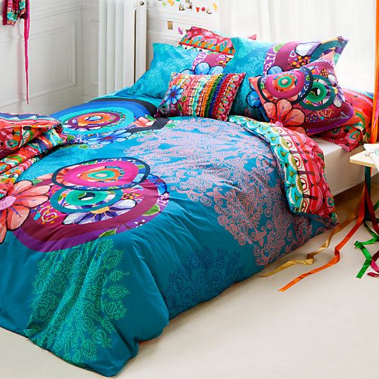 parure linge de lit camif achat parure de lit percale handflower desigual prix promo camif 119. Black Bedroom Furniture Sets. Home Design Ideas