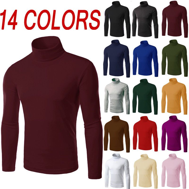 18adc1635 Mens Thermal Cotton Turtle Neck Skivvy Turtleneck Sweaters Stretch Shirt  Tops