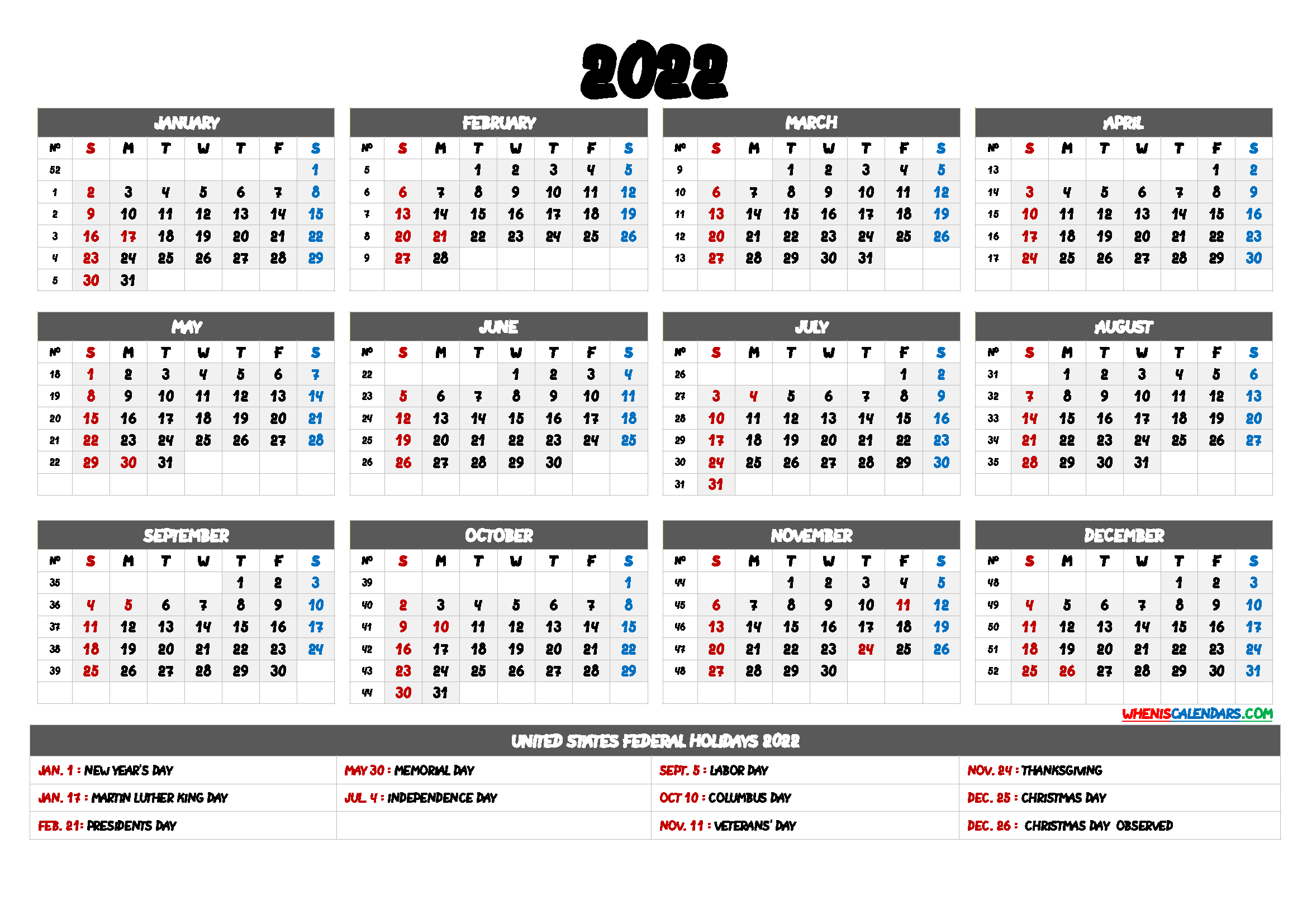 2022 Calendar with Week Numbers – 6 Templates | Yearly calendar template, Printable  yearly calendar, Calendar printables