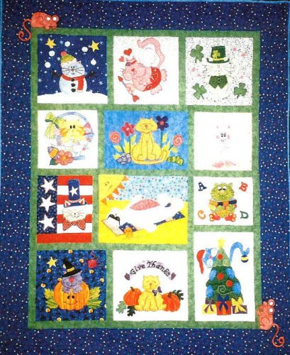NEW-COMPLETE-BLOCK-OF-THE-MONTH-PATTERN-CAT-CALENDAR-QUILT-SIZE-57X57
