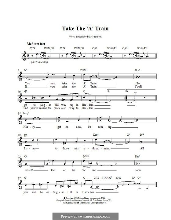 Take the \'A\' Train (Duke Ellington): Melody line, lyrics and chords ...