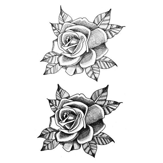 5c39360ac Dotwork Roses (Set of 2) - Temporary Tattoo / Rose Temporary Tattoo / Flower