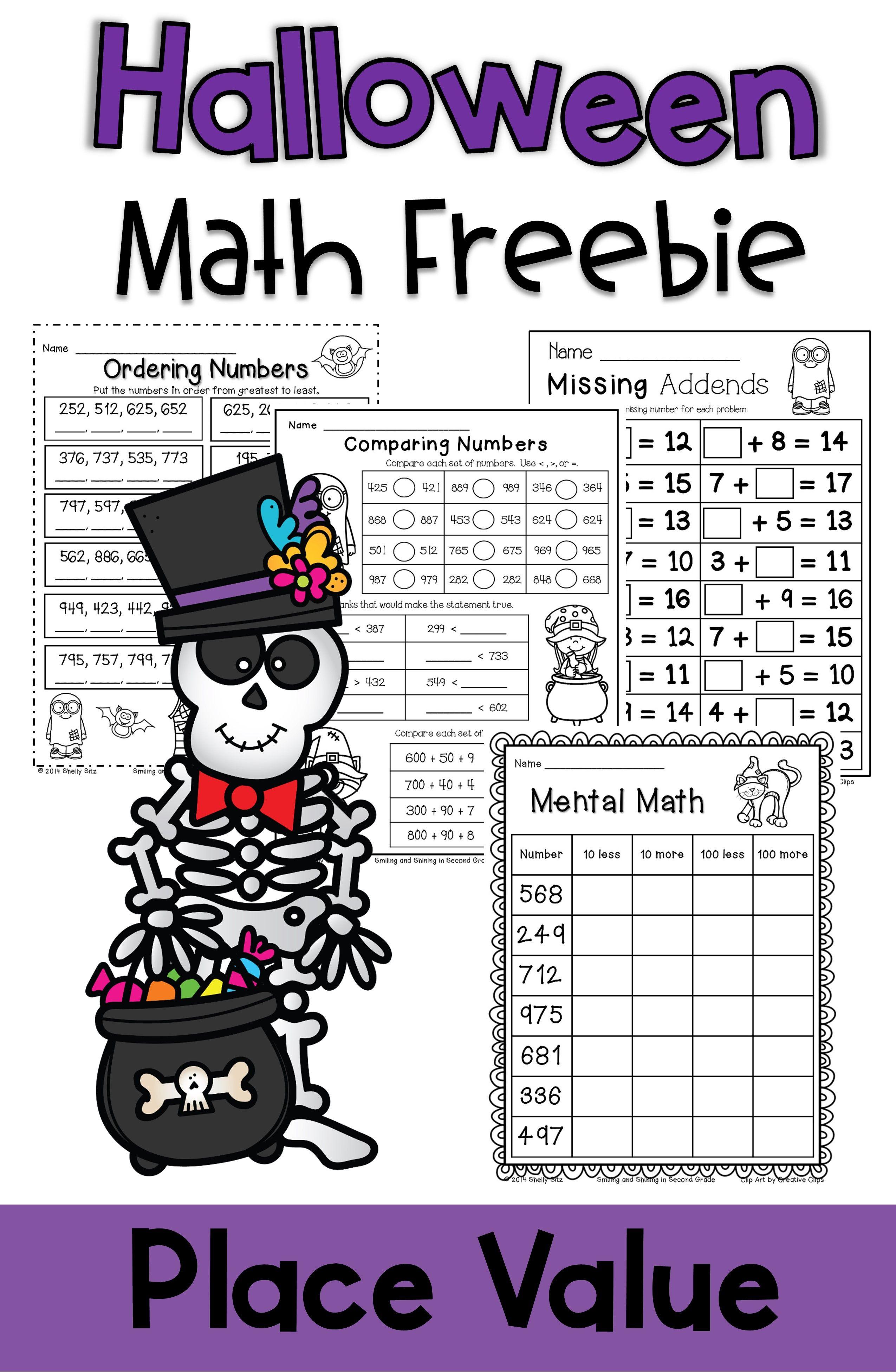 Halloween Math Freebie Math Freebie Halloween Math Halloween Math Worksheets [ 3900 x 2550 Pixel ]