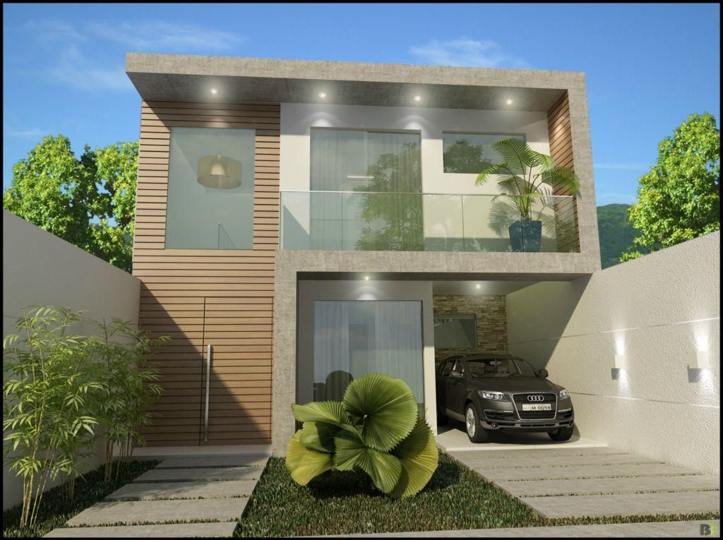 Fachada entre medianera y jardin fachadas de casas - Casas estrechas y largas ...