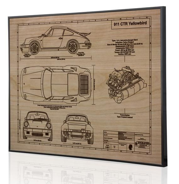 Porsche 964 911 CTR Laser Engraved Wall Art Poster | Classic Car Gifts for Car Lovers | Porsche Car Wall Art | Large Wall Art