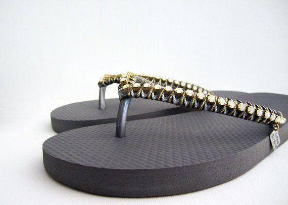 3ffa351fe7a53 Grey decorated flip flops. Grey rubber sandals opal gems