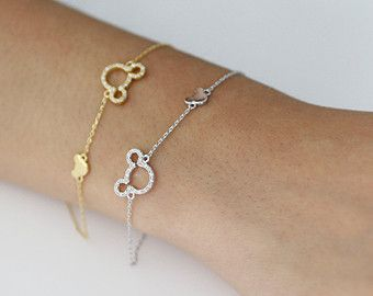 Mickey Mouse Bracelets With Cubic Zirconia In Silver Gold Color