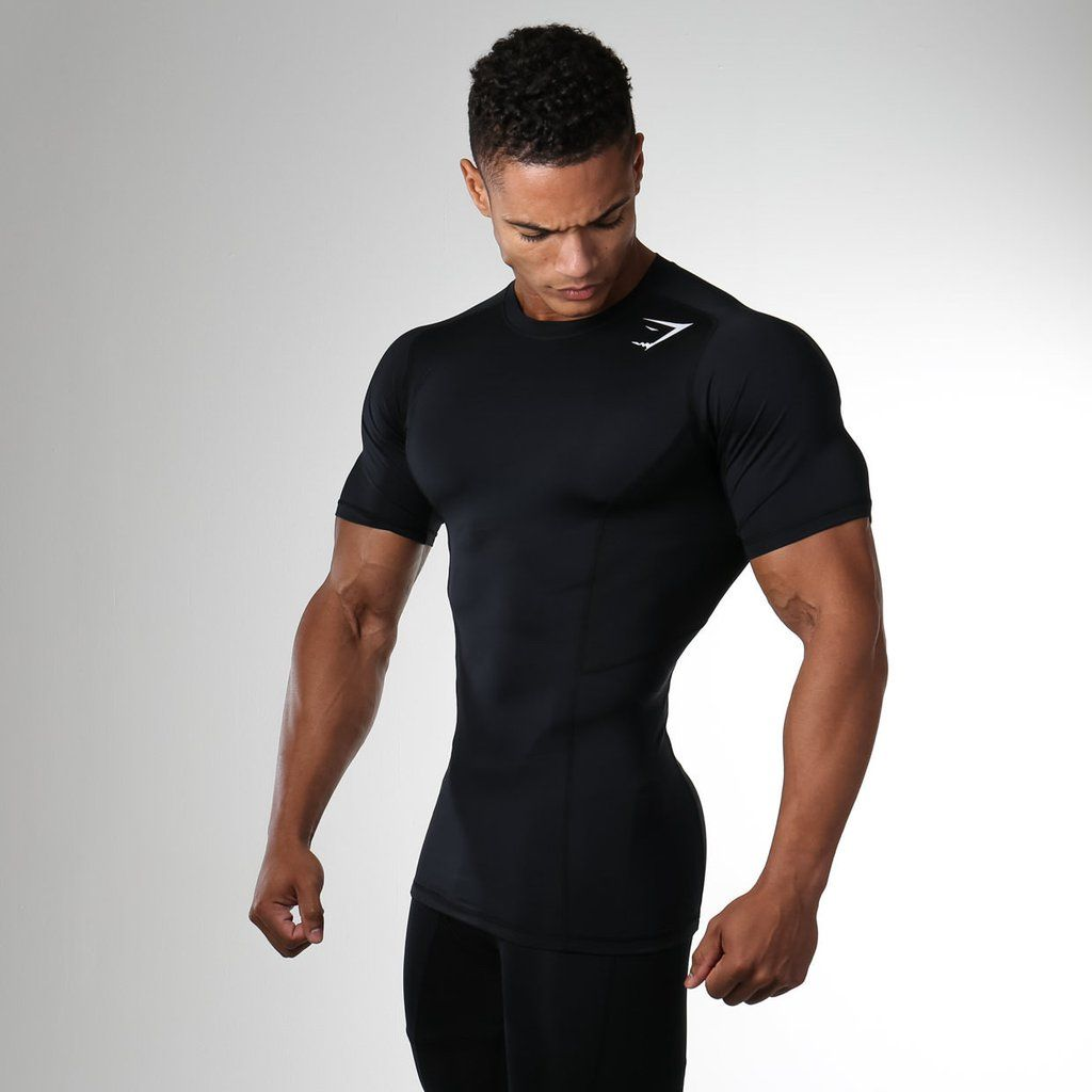 Mens Muscle Compression Tank Top Large Black Compression Shirt