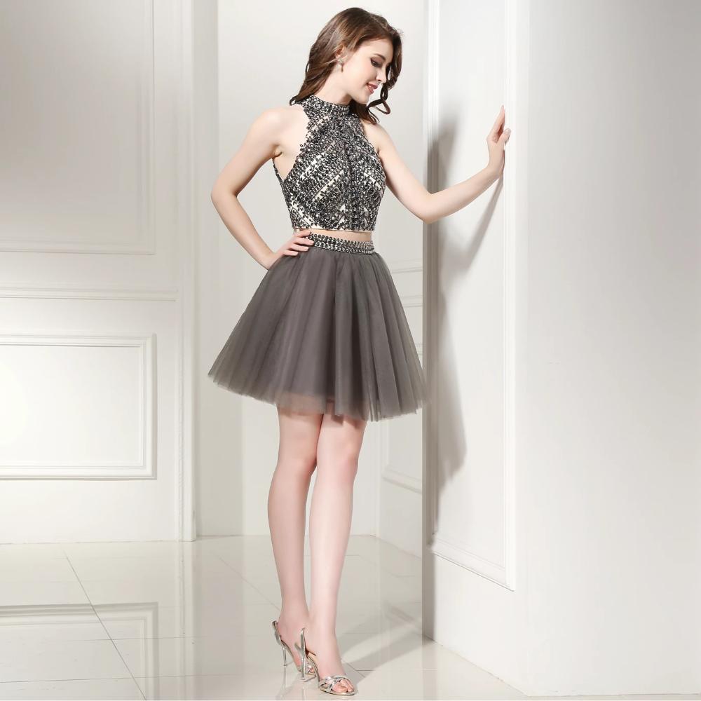 Sparkly 2 Piece High Neck Grey Short Formal Dress With Halter Crystal Rosebridaldress Short Formal Dress Formal Dresses Dresses [ 1000 x 1000 Pixel ]