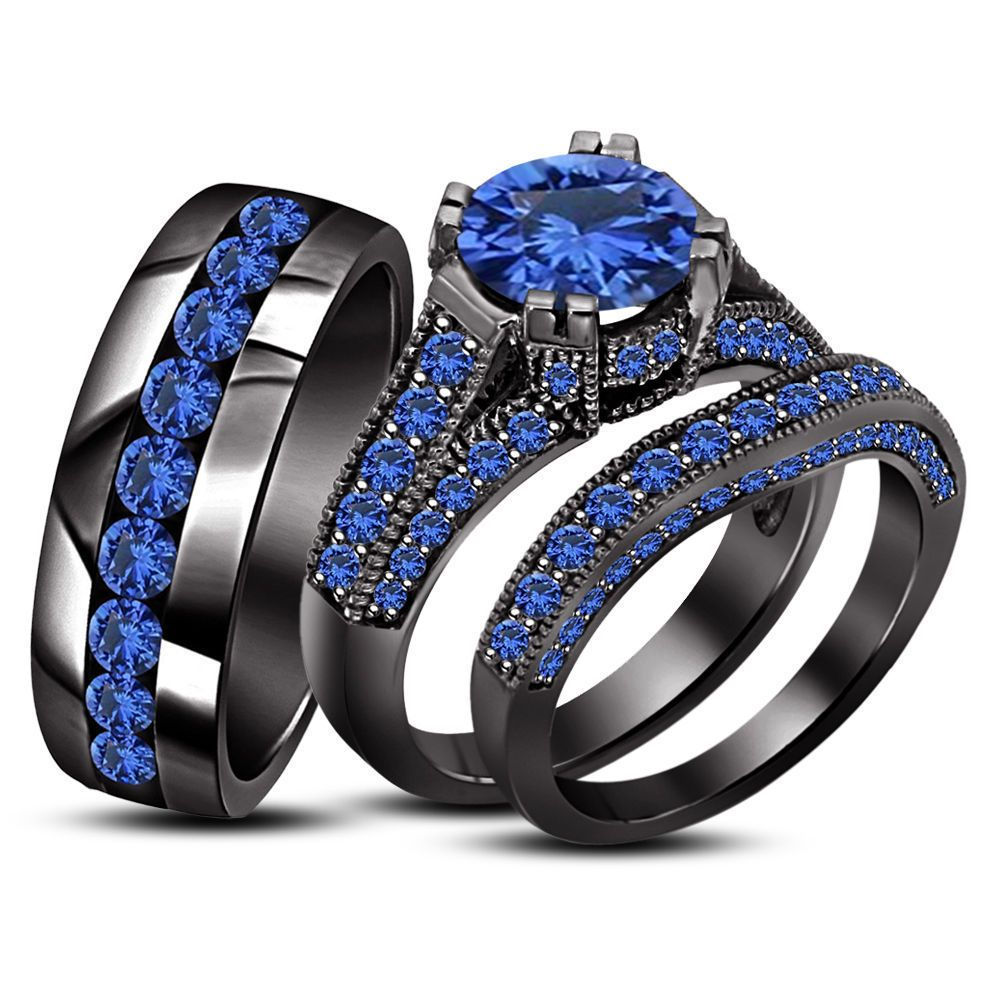 Sapphire 18K Black Gold .925 Silver Engagement Wedding Band Bride Groom Ring  Set