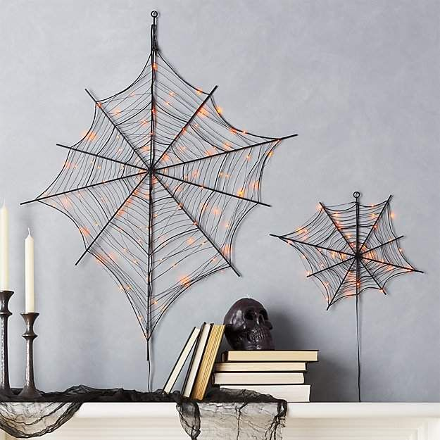 Black Spiderwebs With Orange LED lights - Great Halloween decor for