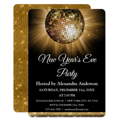 2020 New Year's Eve Party Gold Disco Ball Invitation ...