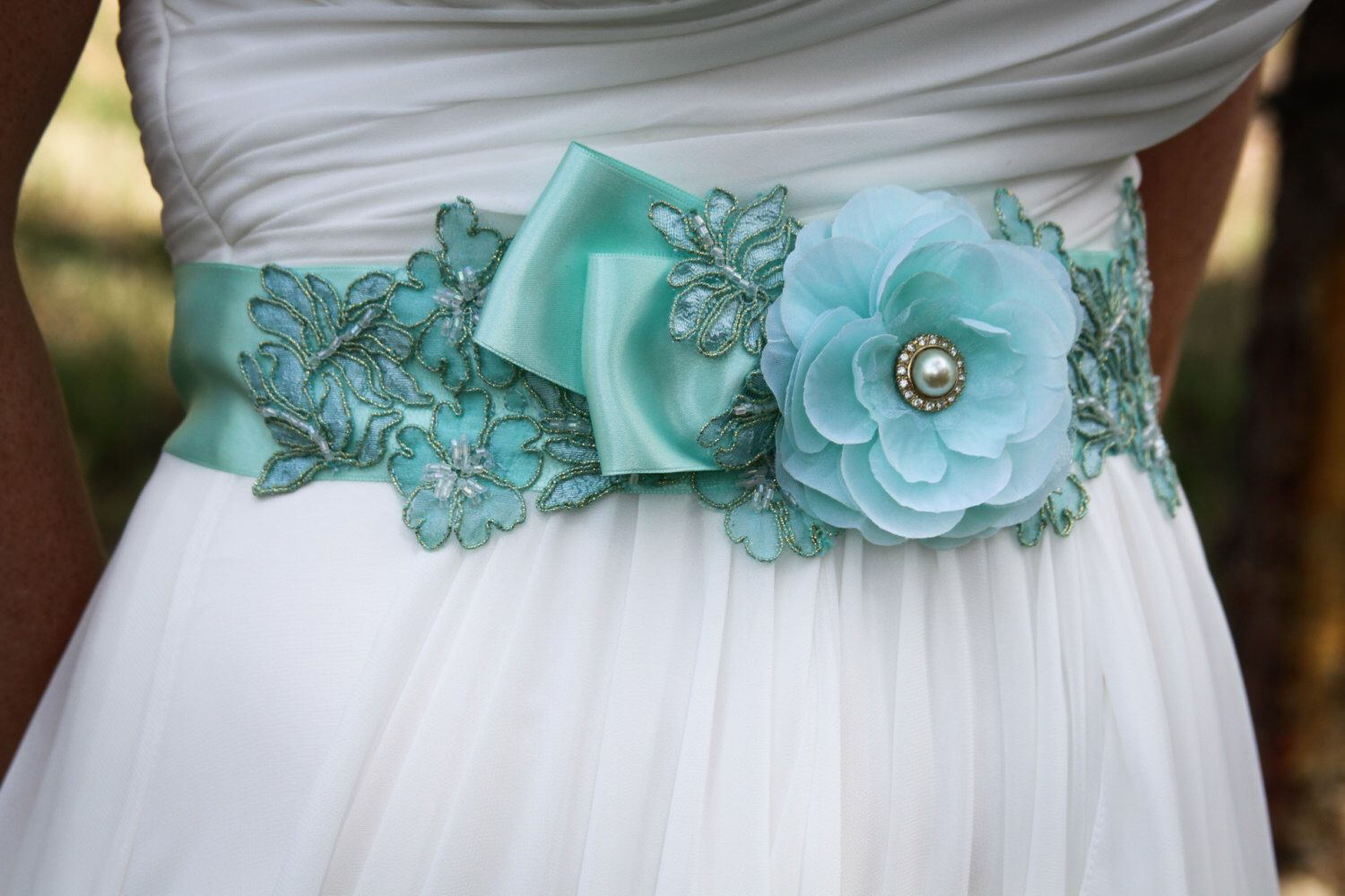 Beaded Lace Bridal Sash, Wedding Sash in Mint Green,Rhinestones ...