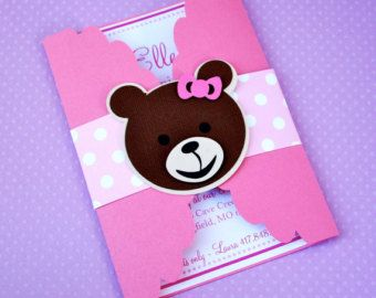 Gate Fold Teddy Bear Invitations by prettypaperparty on Etsy