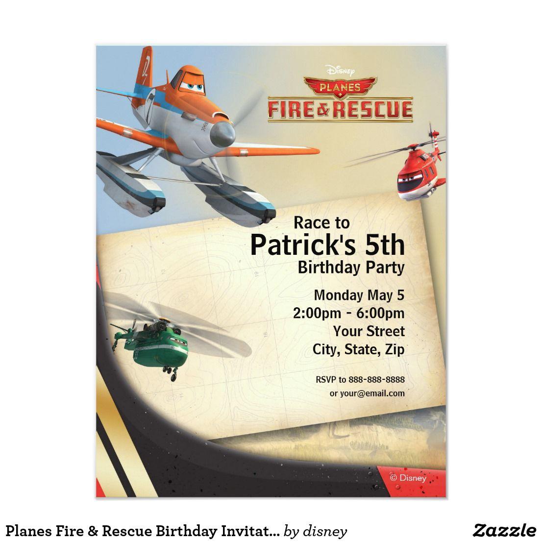 Planes Fire & Rescue Birthday Invitation | Abel\'s 5th Birthday Party ...