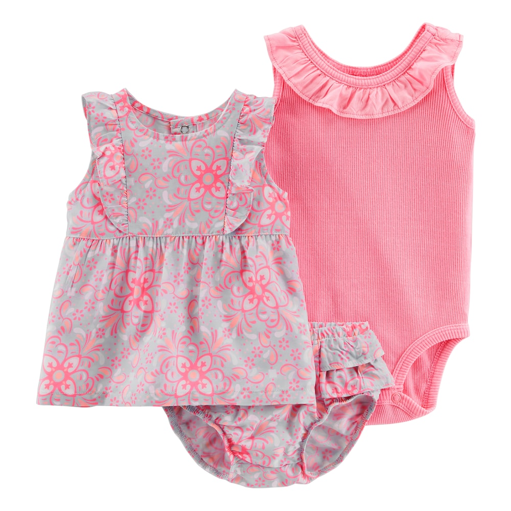 382d37a22 Baby Girl Carter's Floral Tank Top, Ruffled Bodysuit & Floral Bubble Shorts  Set, Size: 24 Months, Pink