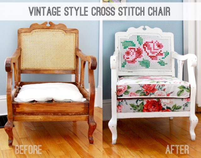 Vintage-Style-Cross-Stitch-Chair