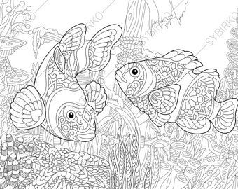 Adult Coloring Pages Tropical Fish Zentangle Doodle For Adults Digital Illustration Instant Download Print