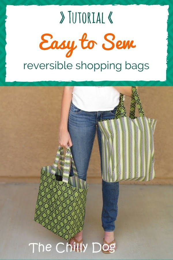 Sewing Tutorial: Reversible Shopping Bags #sewingcrafts