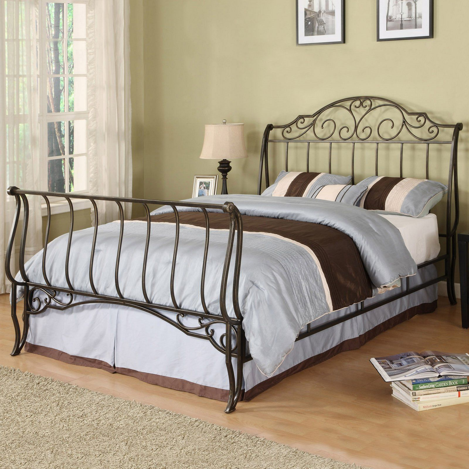 king bed frames wood and scroll | Dunhill Wood and Iron Bed by ...