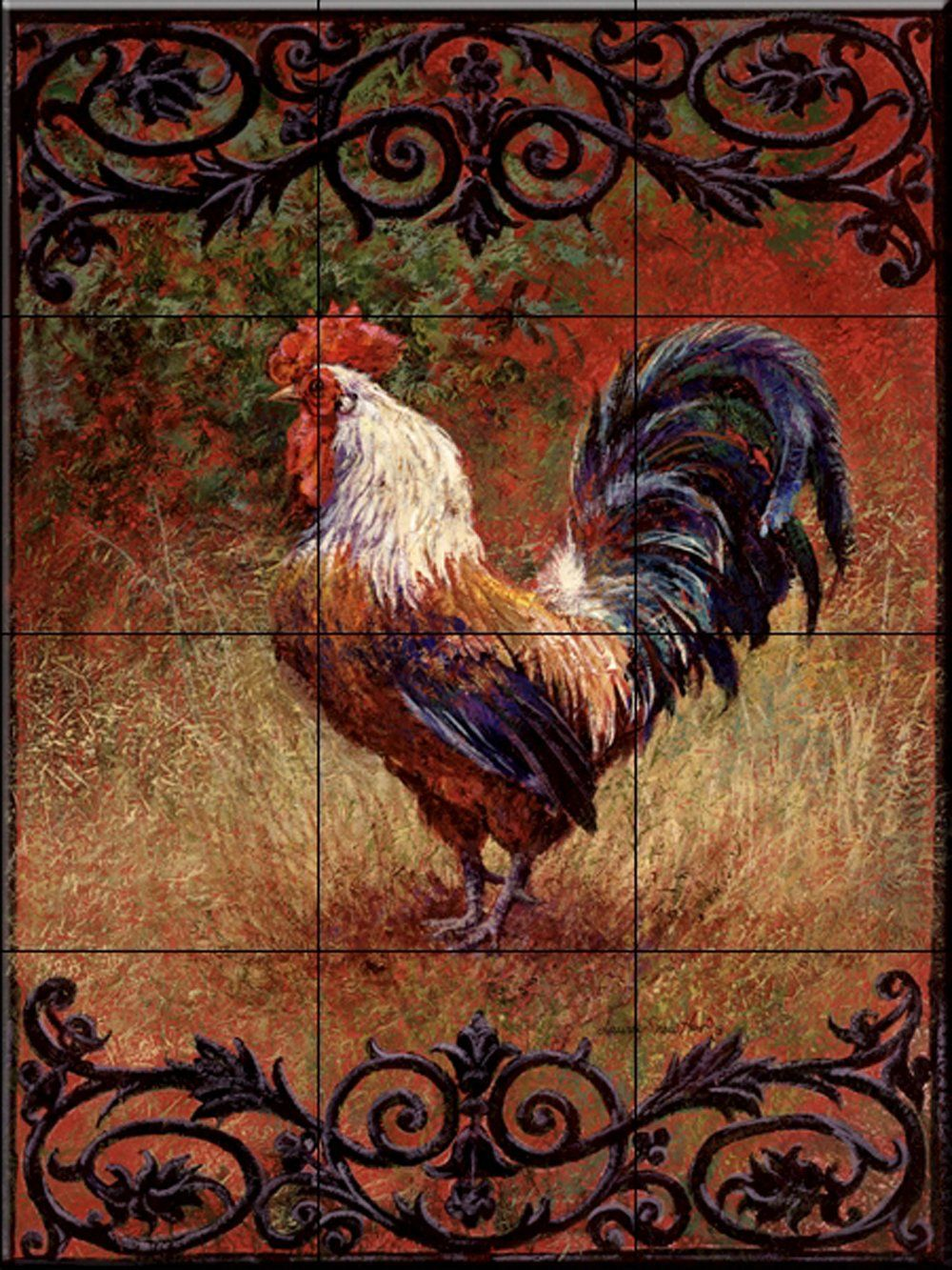 - Iron Gate Rooster I By Laurie Snow Hein - Kitchen Backsplash