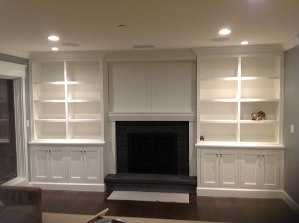 Cabinet And Shelves Same Depth Recessed Lighting Fireplace Inset Flooring Even Wi Built In Around Fireplace Built In Shelves Living Room Fireplace Built Ins