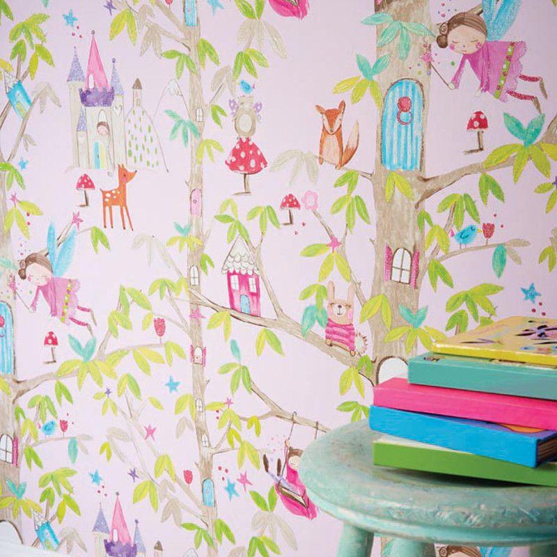 Arthouse Woodland Glitter Fairies Wallpaper In Pink
