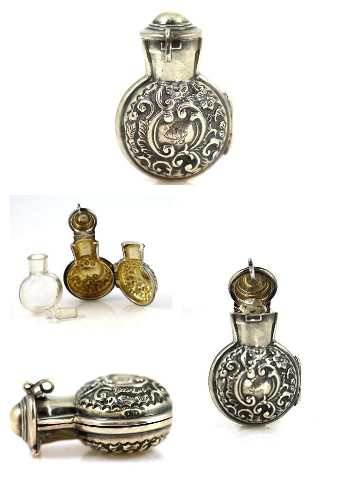 Antique British Sterling Silver Glass Perfume Bottle Pendant – Yourgreatfinds