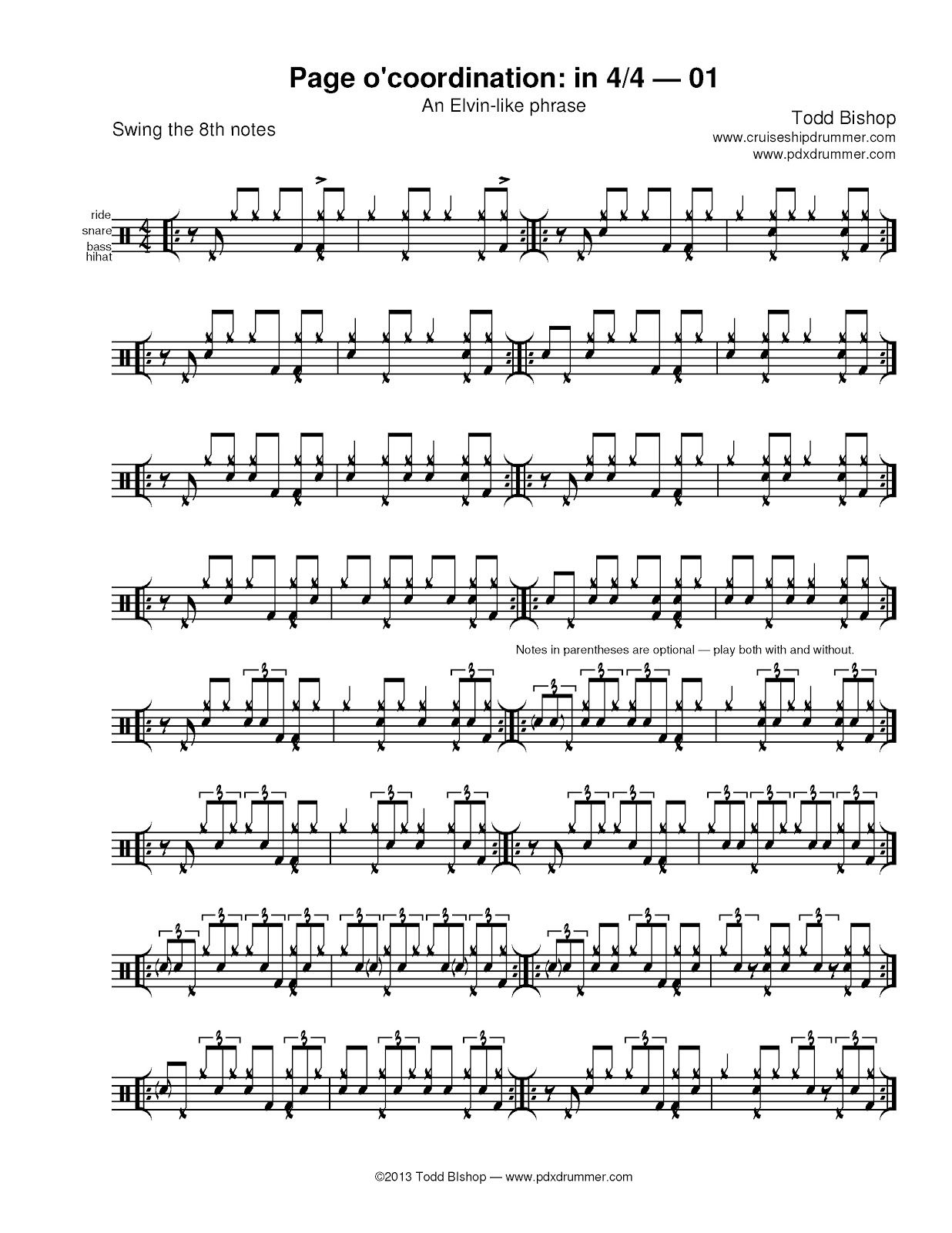 A Blog About Playing The Drums With A Focus On Jazz Funk And Latin Hundreds Of Pages Of Practice Materials And Transcriptions Drum Music Drums Sheet Music