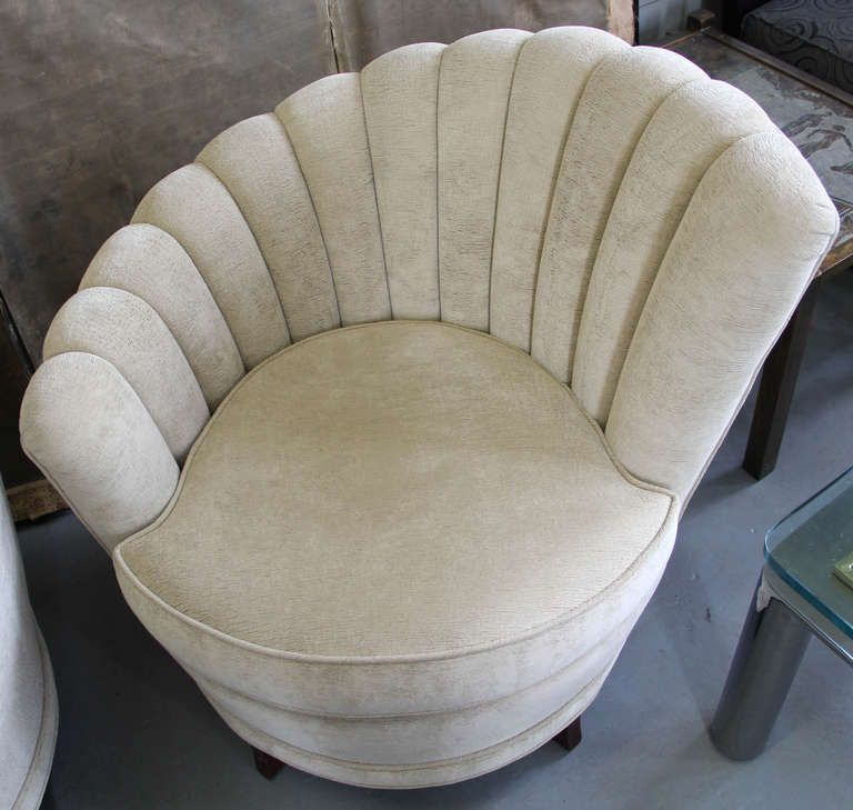 Pair 1940s Asymmetrical Art Deco Shell Channel Back Chairs