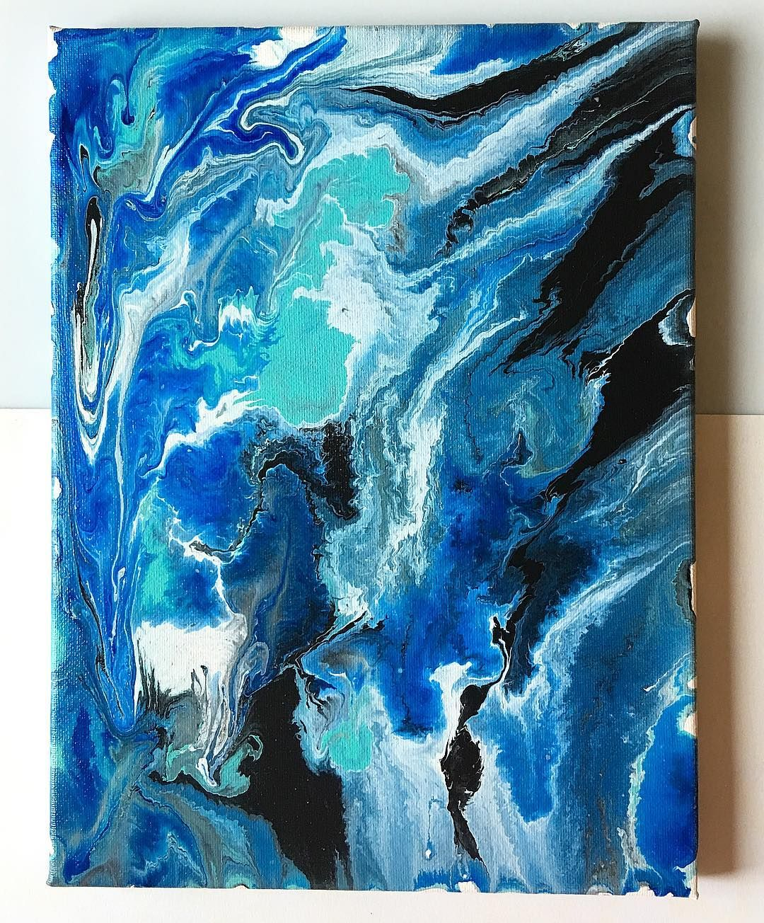 earth color swirls - fluid acrylic abstract painting on canvas. Blue ... for Abstract Paintings Black And White And Blue  156eri