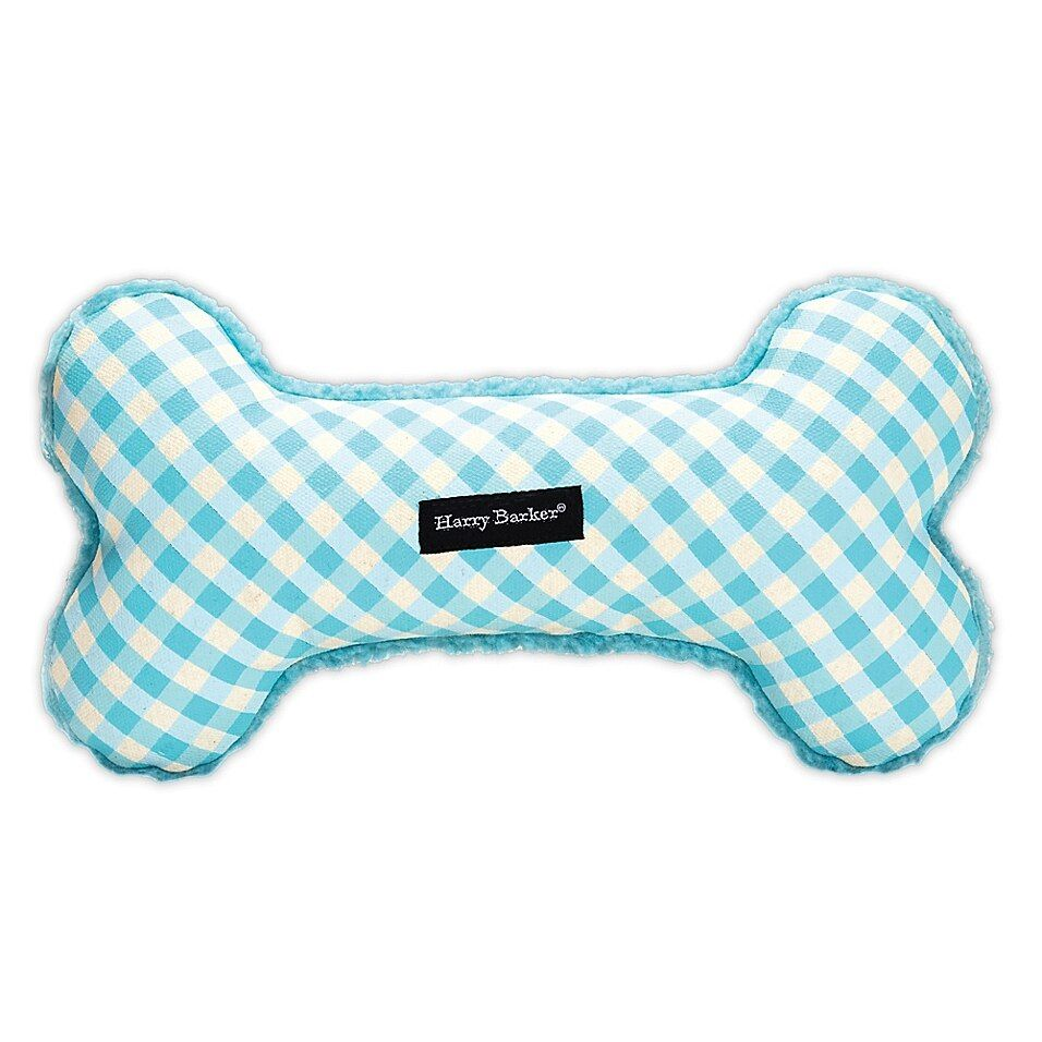 Harry Barker Gingham Large Bone Dog Toy In Blue In 2020 Dog Toys