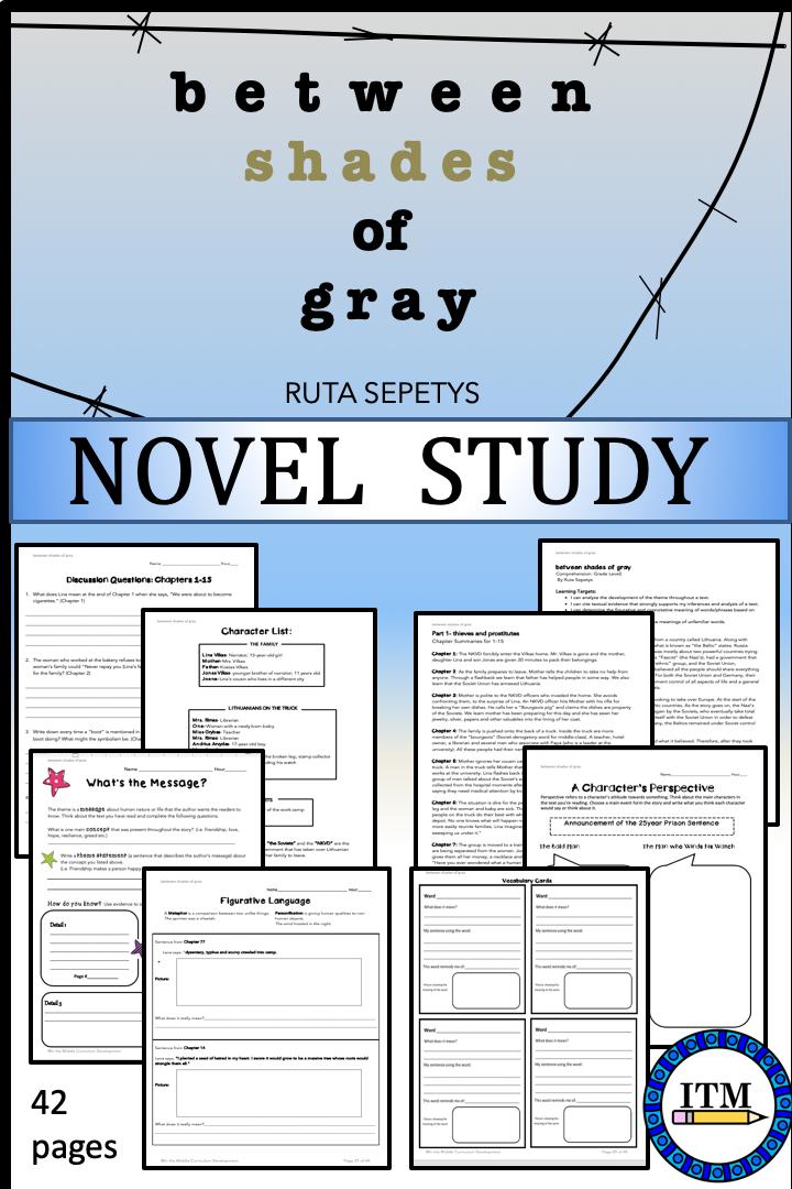 Between Shades Of Gray By Ruta Sepetys Novel Study Novel Studies Teacher Help Teacher Guides