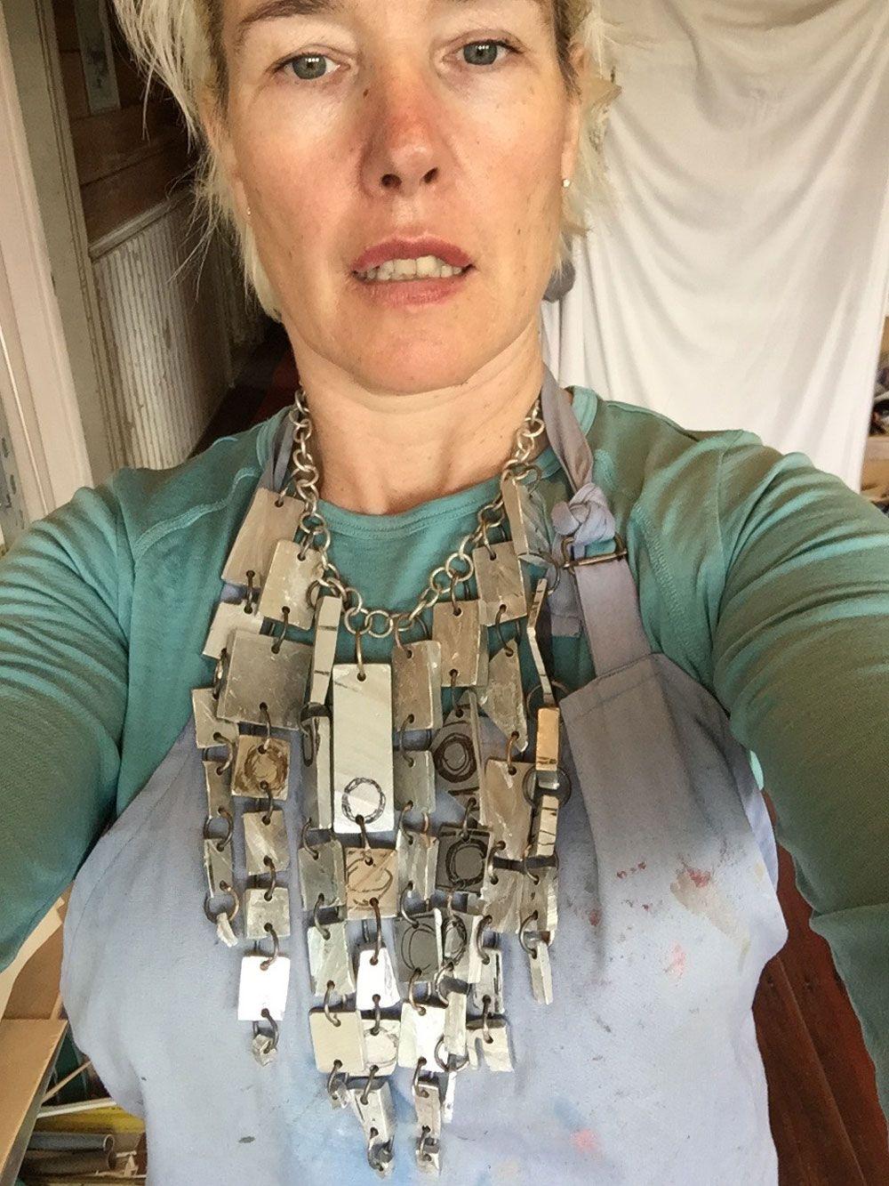 Lisa Walker.  Necklace: Karl's offcuts, 2015. Aluminium, silver